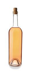 Bottle of tasty wine on white background © Leonid