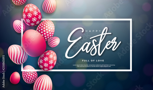 Happy Easter Illustration with Red Painted Egg and Typography Letter on Black Background. International Holiday Celebration Vector Design for Greeting Card, Party Invitation or Promo Banner. - 258865893