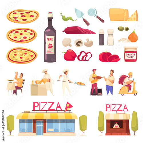 Pizza Icon Set - 258866236
