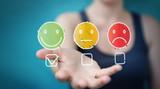 Fototapeta Coffie - Businesswoman using thin line customer satisfaction rating © sdecoret