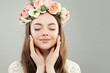 Quadro Portrait of Beautiful Young Model Woman with Healthy Clear Skin, Natural Makeup and Spring Flowers, Female Face Closeup
