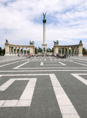 Heroes square with memorial monument in Budapest, Hungary © graphic@jet