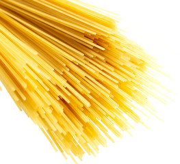 Pasta from dough on a white background