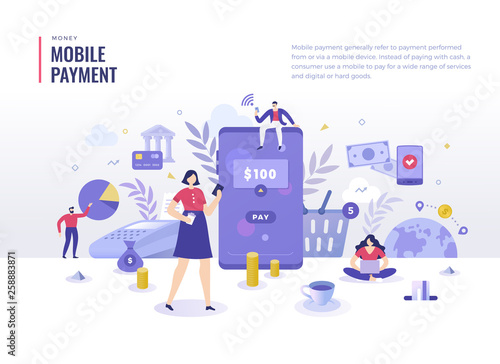 Mobile Payment Flat Illustration Concept. Mobile payment, shopping, banking concept. Money transfers with mobile devices