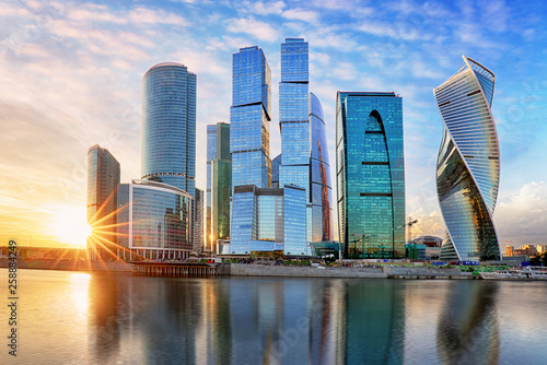 Modern skyscrapers business center Moscow - City in Russia - 258884249