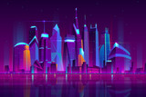 Fototapeta Fototapety miasto - Modern city cartoon vector night landscape. Urban cityscape background with skyscrapers buildings on sea shore illuminated with neon light illustration. Metropolis central business district © vectorpouch