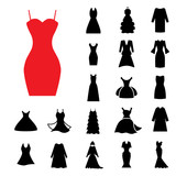 Woman Dress Icon Isolated or Gown Symbol Collection