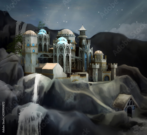 Fantasy kingdom in the mountains - 3D and digital painted illustration - 258900872