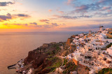 Beautiful sunset at Oia village, Santorini island, Greece.
