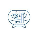 Fish in the aquarium line concept icon. Fish in the aquarium flat  vector website sign, outline symbol, illustration.