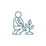 Garden care line concept icon. Garden care flat  vector website sign, outline symbol, illustration.