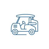Golf car line concept icon. Golf car flat  vector website sign, outline symbol, illustration.