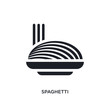 black spaghetti isolated vector icon. simple element illustration from hotel and restaurant concept vector icons. spaghetti editable logo symbol design on white background. can be use for web and