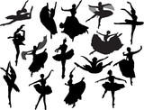 fifteen isolated black ballet dancer silhouettes