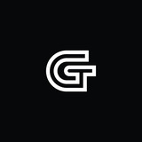 Outstanding professional elegant trendy awesome artistic black and white color GT TG initial based Alphabet icon logo.