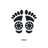 black feet isolated vector icon. simple element illustration from religion concept vector icons. feet editable logo symbol design on white background. can be use for web and mobile