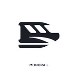 black monorail isolated vector icon. simple element illustration from transportation concept vector icons. monorail editable logo symbol design on white background. can be use for web and mobile