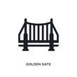black golden gate isolated vector icon. simple element illustration from united states concept vector icons. golden gate editable logo symbol design on white background. can be use for web and