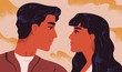 Happy adorable couple in love. Portrait of young man and woman looking at each other. Pair of romantic partners on date. Boyfriend and girlfriend. Flat vector illustration for Valentine's Day.