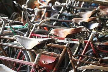 Urban retro bicycle on the street