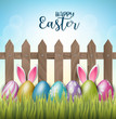 Happy Easter background with realistic 3d colorful eggs, wooden fence, flowers and hiding bunny ears. Vector illustration.