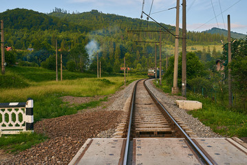 railroad track, railroad bridge railroad in the mountains