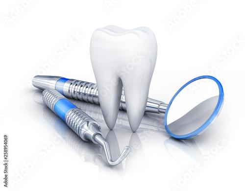 tooth and dental tools © Vlad Kochelaevskiy