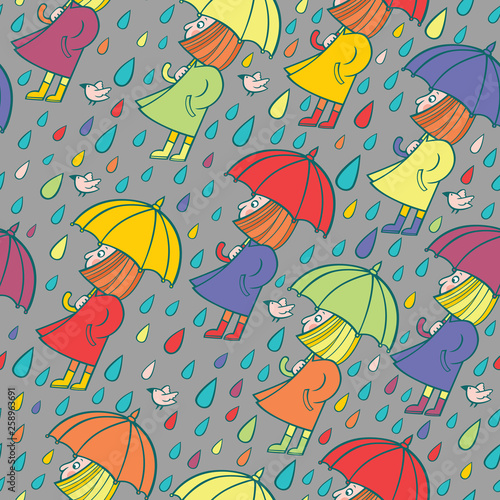 fototapeta na ścianę Vector seamless pattern with cartoon girl in the rain on gray background.