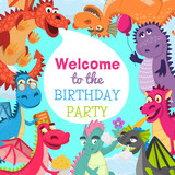 Fototapeta Dinusie - Baby dragons pattern vector illustration for invitation cards. Cartoon funny dragons with wings. Fairy dinosaurs with pop corn, baloon, flower, book. Welcome to the birthday party. © Vectorwonderland