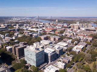 Aerial view of downtown Savannah, Georgia. © Wollwerth Imagery