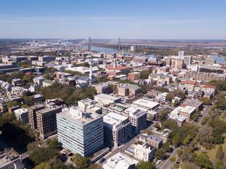 Aerial view of downtown Savannah, Georgia.