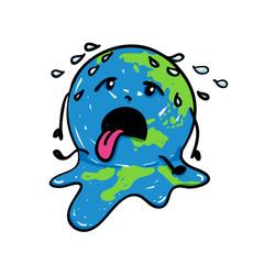 Erde schmilzt wegen Temperaturanstieg im Klimawandel