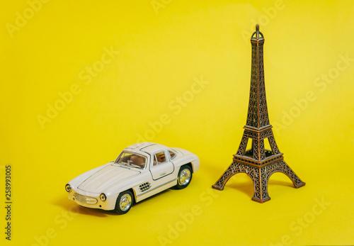 Eiffel tower and retro car