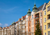 Partly renovated tenements at Slowackiego Street in Szczecin (Stettin) city on a beautiful spring day,  Poland.