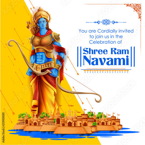 Shree Ram Navami celebration background for religious holiday of India