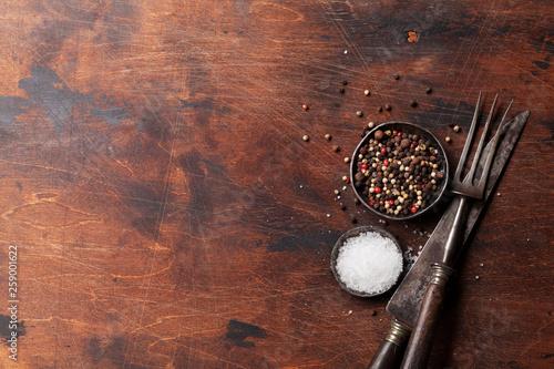 Spices for meat. Salt and pepper © karandaev