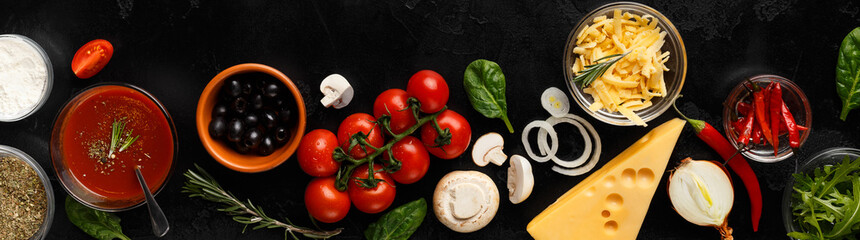 Pizza cooking ingredients, vegetables and cheese, top view © Prostock-studio