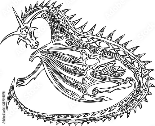 Contour drawing of a fabulous decorative dragons
