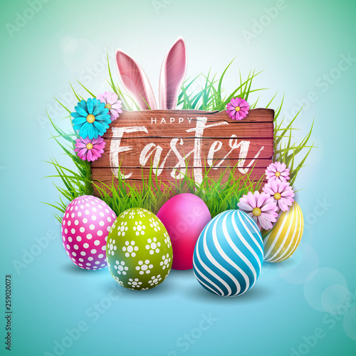 Happy Easter Holiday Design with Painted Egg, Flower and Rabbit Ears on Vintage Wood Background. International Vector Celebration Illustration with Typography for Greeting Card, Party Invitation or © articular