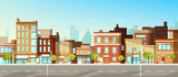Fototapeta Fototapety miasto - Modern city, town street flat vector with low-rise houses, commercial, public buildings in various architecture styles, sidewalk with city lights and road illustration. Metropolis outskirt background © vectorpocket