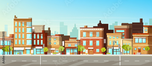 Modern city, town street flat vector with low-rise houses, commercial, public buildings in various architecture styles, sidewalk with city lights and road illustration. Metropolis outskirt background - 259020648