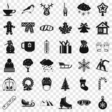 Winter weather icons set. Simple style of 36 winter weather vector icons for web for any design