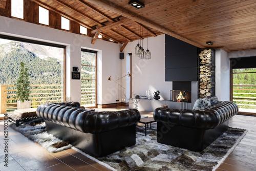 Gemütliches Wohnzimmer Interieur im skandinavischen Stil  - 259033814