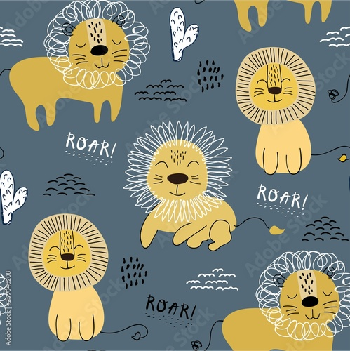 fototapeta na ścianę Seamless pattern with lions, background for kids fabric, textile, nursery decoration,wrapping paper