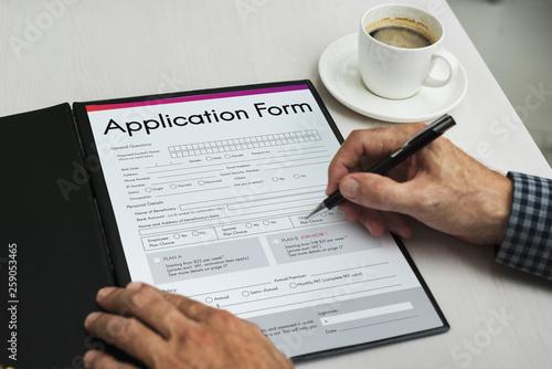 Leinwandbild Motiv Application Form Document Page Concept