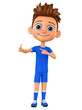 Cartoon character boy in blue uniform points to the thumb up. 3d rendering. Illustration for advertising.