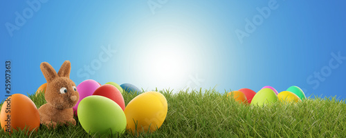 cute Easter bunny and colorful Easter eggs 3d-illustration - 259073613