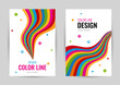 Bright cover with rainbow line on white background. Abstract vector vertical banners color line.  Universal template with empty place for text.