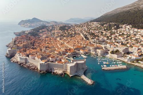 Leinwandbild Motiv Aerial viel of the old town of Dubrovnik, Croatia