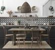Ethnic kitchen interior, 3d render